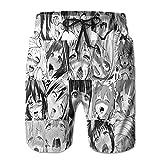 Cartoon Anime Face Print Men's Summer Holiday Quick-Drying Swim Trunks Beach Shorts Board Shorts