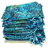 100pcs Blue Bronzing Coralline Pattern Organza Drawstring Gift Bags Jewelry Pouches, Beautiful Drawstring Pouch for Candy Party, Wedding, Spa Parties, Holiday Events, Baby Shower, Mermaid Theme or Sma