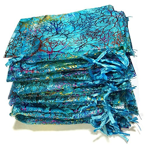 100pcs Blue Bronzing Coralline Pattern Organza Drawstring Gift Bags Jewelry Pouches, Beautiful Drawstring Pouch for Candy Party, Wedding, Spa Parties, Holiday Events, Baby Shower, Mermaid Theme or Sma (Bag Favor Spa)