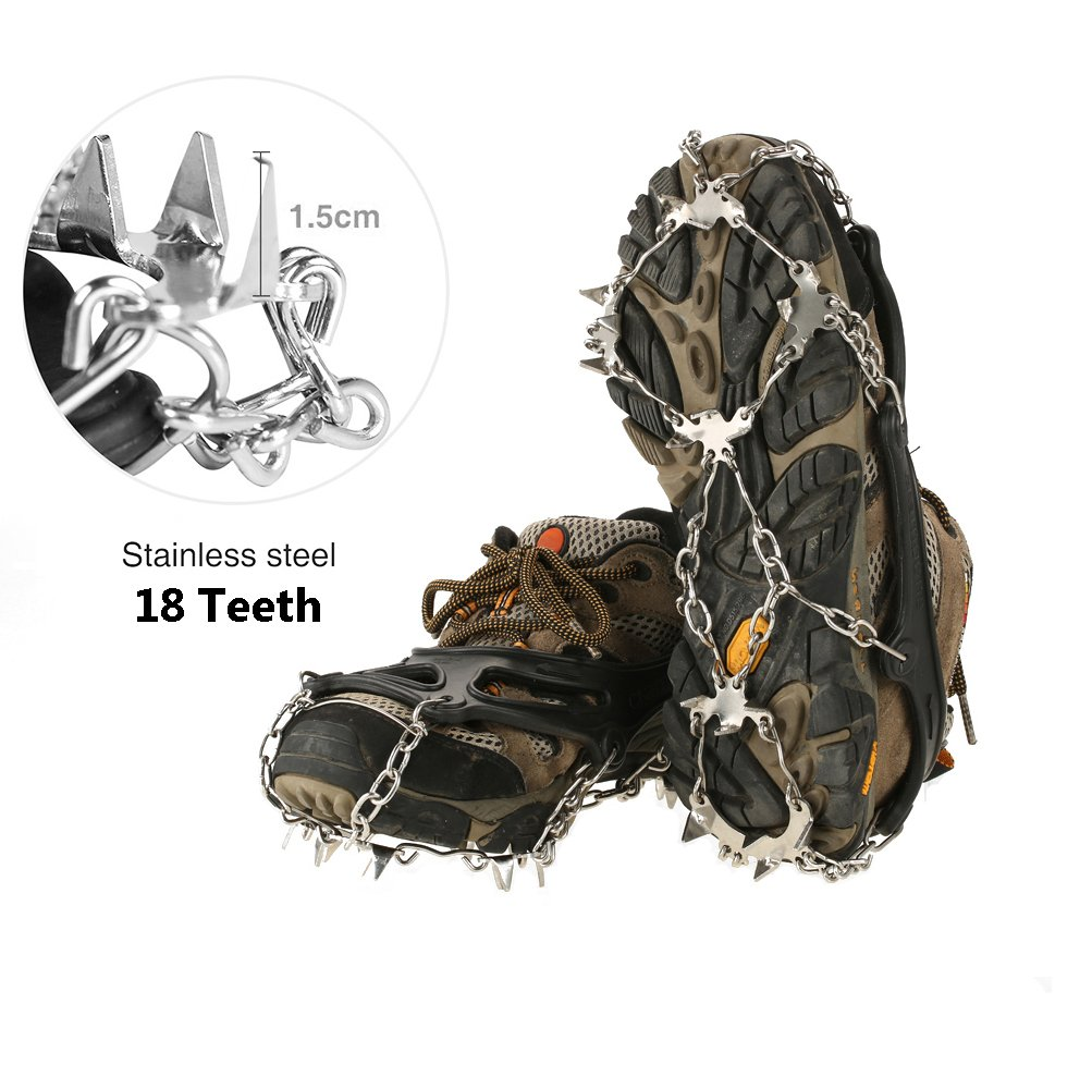 V.one Crampons, 18 Teeth Spikes Footwear with Stainless Steel Chain, Anti-Slip Rubber Snow Traction Cleats with Velcro Straps for Boosts/Shoes, Ice Gripper for Outdoor Walking/Climbing/Hiking (M)