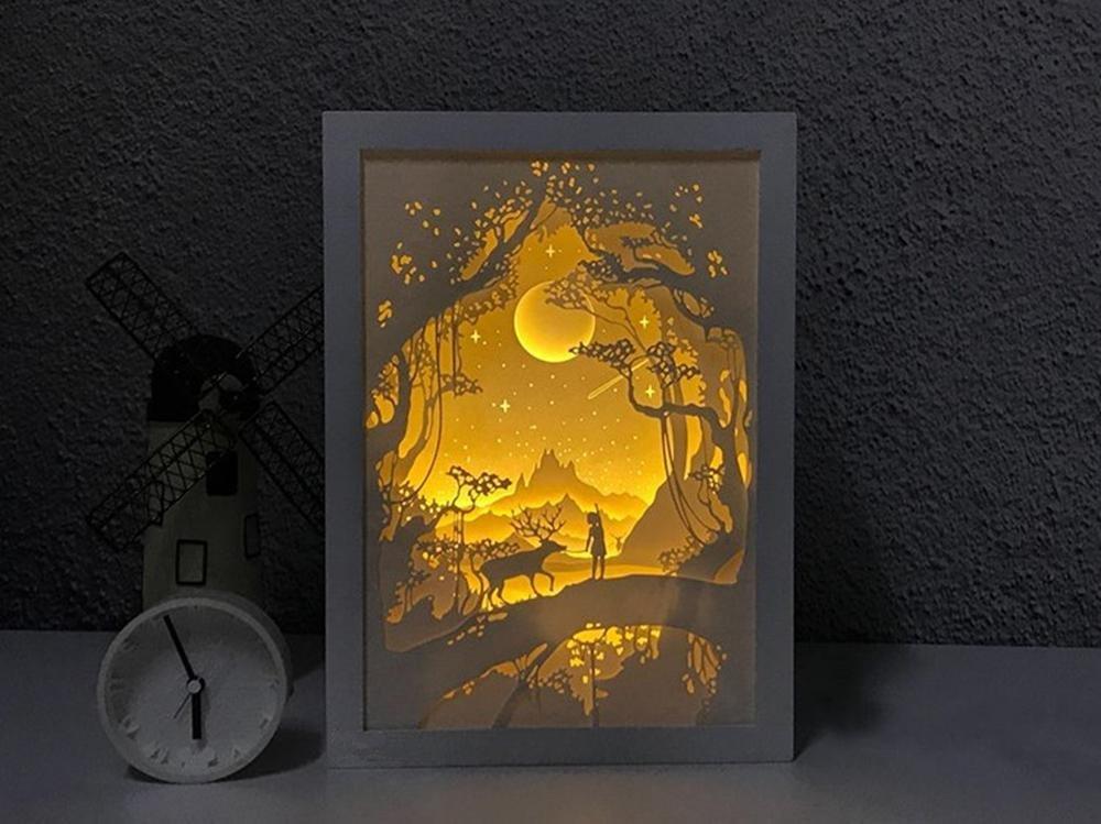 LED Paper Carving Desk Lamp Simple Modern Style Bedroom Living Room Bedside Lamp Creative 3DIY Decorative Lights