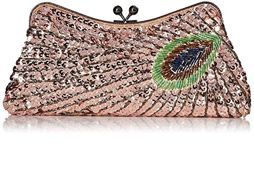 Kisschic Vintage Champagne Evening Bags Clutches Sequin Purse Peacock Women's Beaded and aSTqwaH