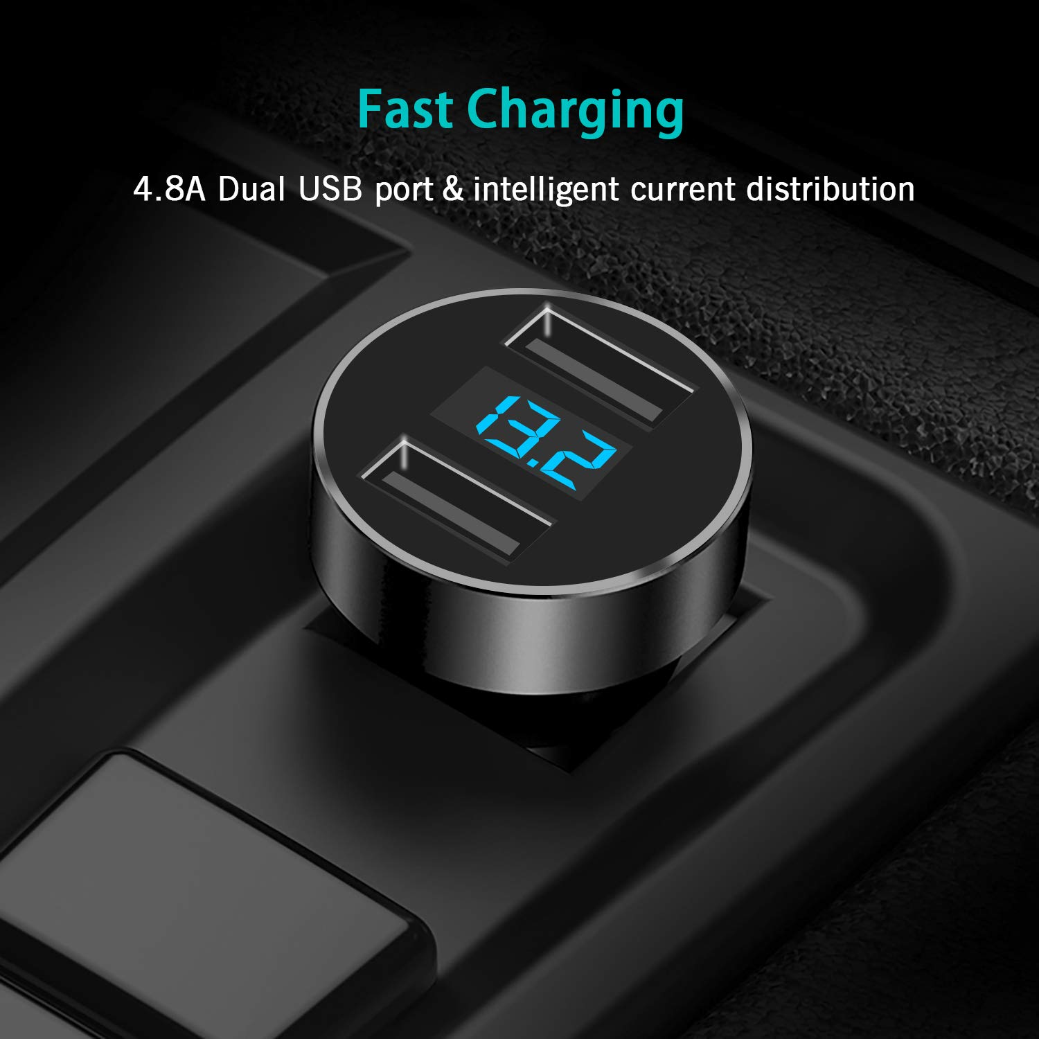 HTC and More Galaxy S9 S8 S7 S6 Edge Note HX Studio USB Car Charger 4.8A Dual Car Adapter,2 USB Smart Port Charger Compatible for iPhone Xs XS Max XR X 8 7 Plus Nexus iPad Pro Air Mini LG
