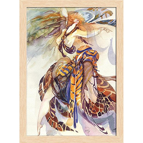 Bird Of Paradise Natural Wood - ArtzFolio Allegory of Paradise Bird Canvas Painting Natural Brown Wood Frame 16 X 22.1Inch