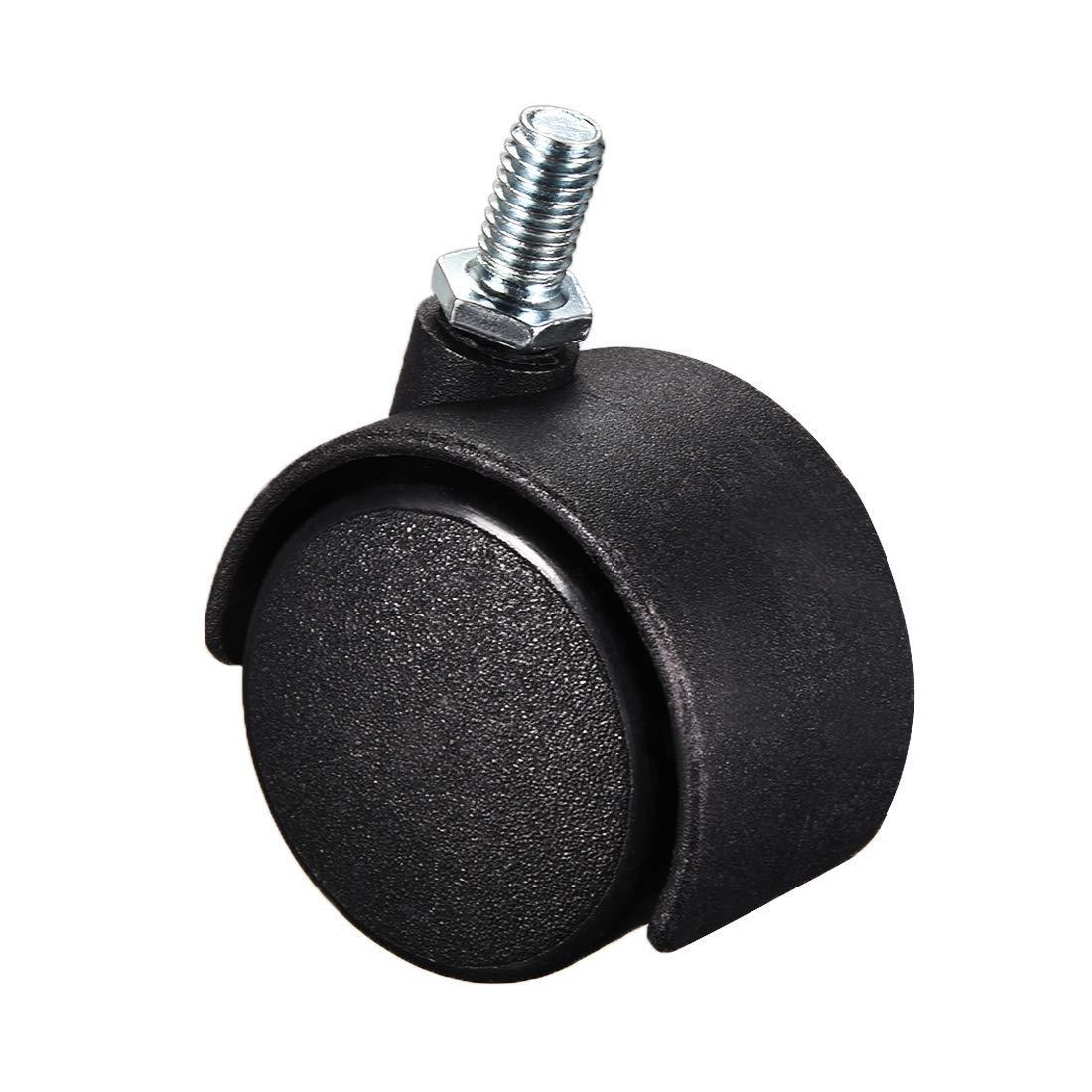 10 Pieces 33 lb Capacity Each Wheel Furniture Wheels 1.5-inch Nylon Threaded Shank Swivel Wheels M8 x 15 mm
