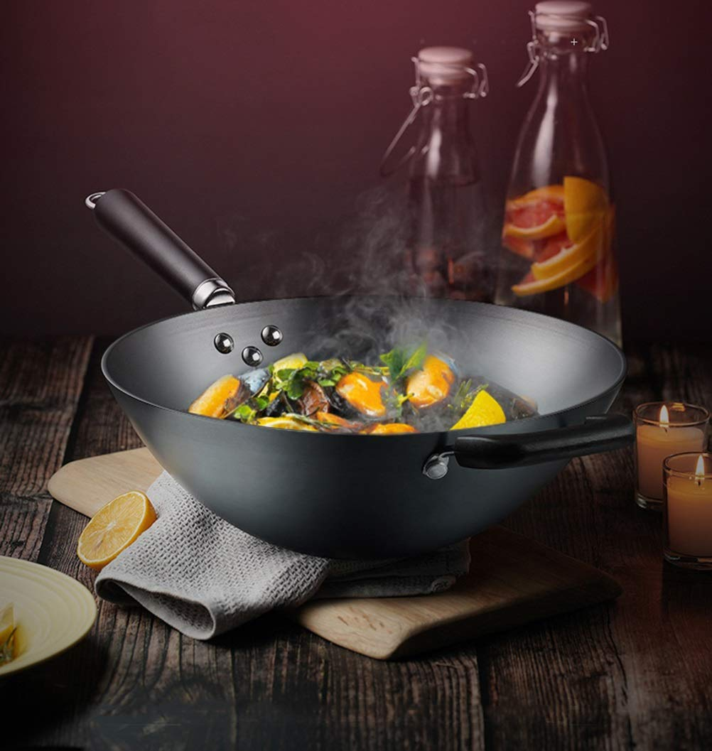 WYQSZ Wok - rust-free household uncoated wok round bottom fine iron wok multi-function less smoked wok -fry pan 2365 (Size : 3410.5cm) by WYQSZ (Image #4)