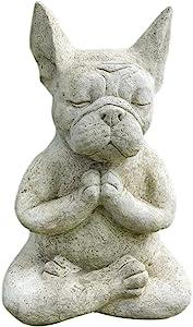 EMVO Meditation Bulldog Resin Statue, Animal Yoga French Bulldog Ornament Figurine Sculpture, Funny Pedigree Dog Garden Decor for Indoor & Outdoor/Home/Office/Lawn/Patio