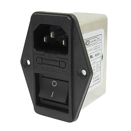 Filtro EMI - SODIAL(R)Terminales de lengueta de soldadura IEC 320 C14 Filtro