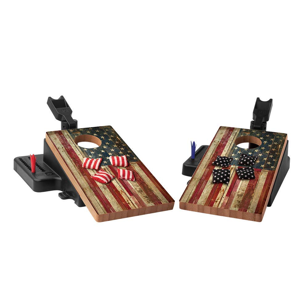 American Cornhole Associations - Official Mini Cornhole Game for Kids & Adults - Mini Indoor Corn Hole Games Travel Set - Portable Bean Bag Toss Kit with Wooden Boards & Bags (Rustic American Flag)