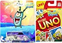 Spongebob Go 。カードゲーム&車パックスポンジボブSquarepants My First Unoカードゲーム+ Plankton Hot Wheelsパープルvanの商品画像