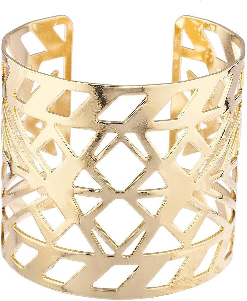 Lux Accessories Gold Tone Aztec Style Geo Cutout Bracelet Cuff