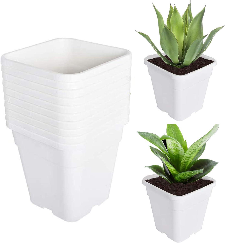 TINVHY 10-Pack 5 Gallon Square Plant Nursery Pot Grow Pots White Nursery Containe