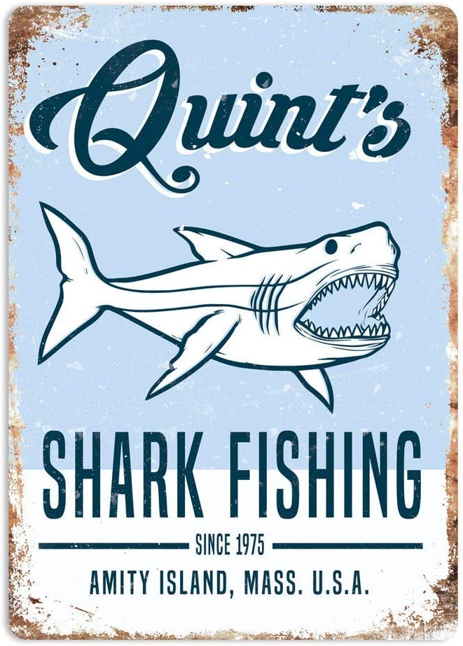 NNHG Tin Sign 8x12 inches Art Jaws 80s Movie Poster Summer Decor Novelty Art Sign