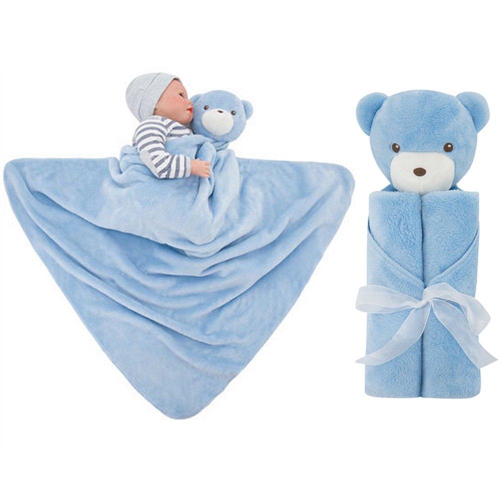 Blue Bear GudeHome Babydecke Bademantel aus Mikrofaser Babyhandtuch mit Kapuze lustiges Kuscheldecke Strickdecke Kapuzenhandtuch kuscheliger PonchoKapuzenbadetuch