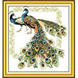 YEESAM ART New Cross Stitch Kits Advanced Patterns for Beginners Kids Adults - Lucky Peacocks 11 CT Stamped 61x66 cm - DIY Needlework Wedding Christmas Gifts