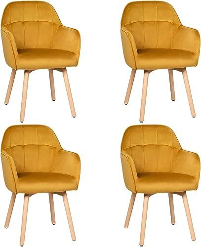 Giantex Modern Velvet Arm Dining Chairs Set of 4
