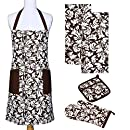 Yourtablecloth Kitchen Gift Set-1 Kitchen Apron, An Oven Mitt & A Pot Holder-2 Kitchen Dish Towels or Tea Towels-Ideal Cooking Gifts or Gift Ideas for Chefs-Suitable for Men & Women-Chocolate
