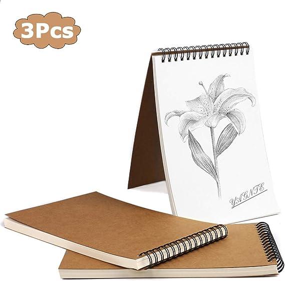 Cuaderno de Dibujo en Espiral A5, Pack de 3 Cuaderno de Bocetos Bloc de Notas en Blanco de Papel Kraft, 100 Páginas / 50 Hojas - Perfecto para Viajar Dibujo Artístico (Marrón): Amazon.es: Hogar