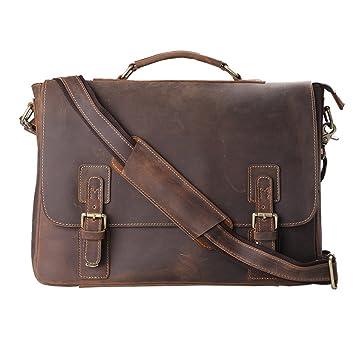 Amazon.com: Kattee Men's Leather Satchel Briefcase, 16