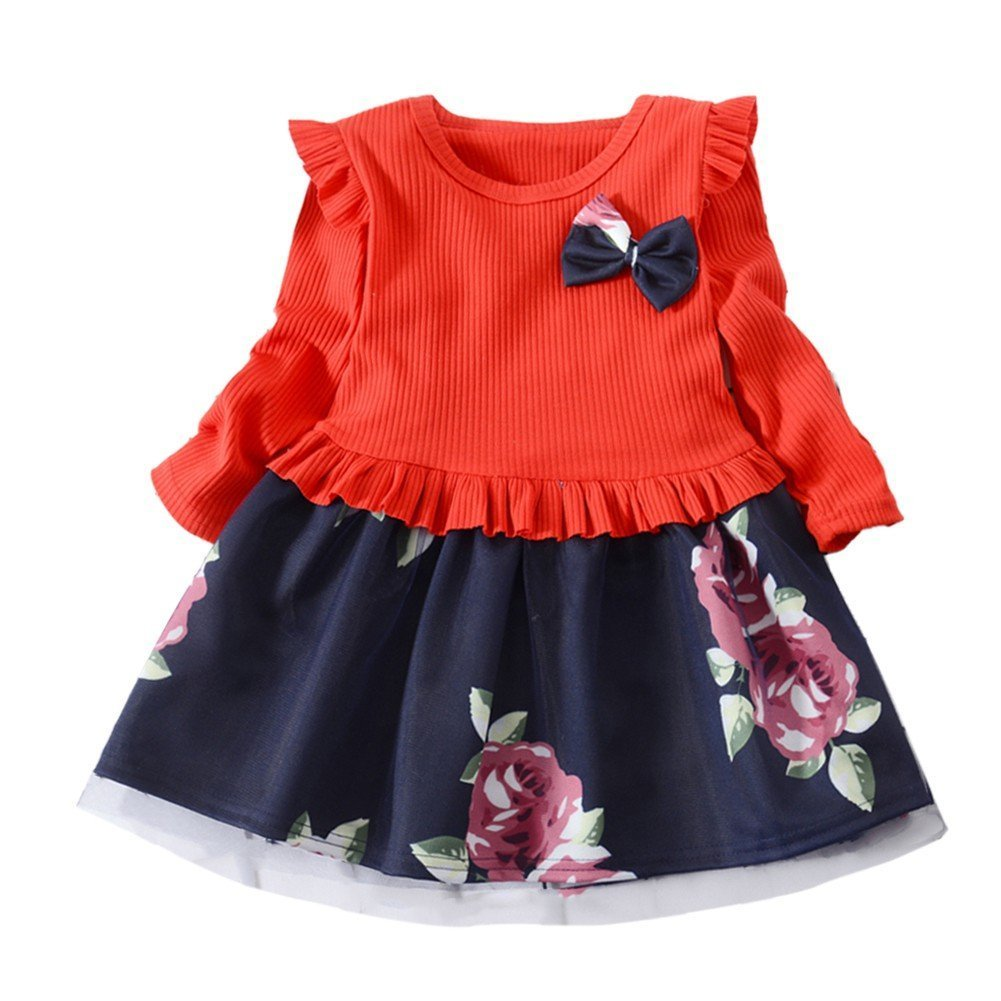 Weixinbuy Toddler Baby Girls Crewneck Floral Flower Bowknot Formal Party Princess Dresses Clothes
