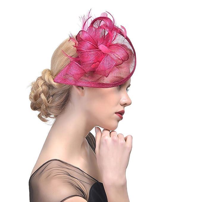 StageOnline Donne Cappelli Cerimonia Piuma Fiore Partito Matrimonio  Decorazione Cappello per Partito Matrimonio  Amazon.it  Casa e cucina 45197395ba9a
