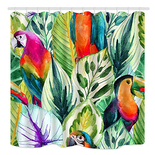 DYNH Tropical Parrots Exotic Palm Banana Leaves Watercolor, Waterproof Fabric Bathroom Decor, Bath Curtains Accessories Hooks, 69X70 ()