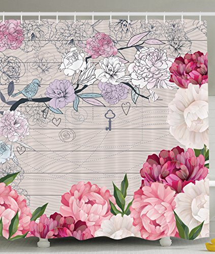 Pink Shower Curtain By Ambesonne, Flower Design Rustic Bathroom Decor  Decorative Branches Peonies Blue Sparrow Modern Art Nouveau Painting  Feminine French ...