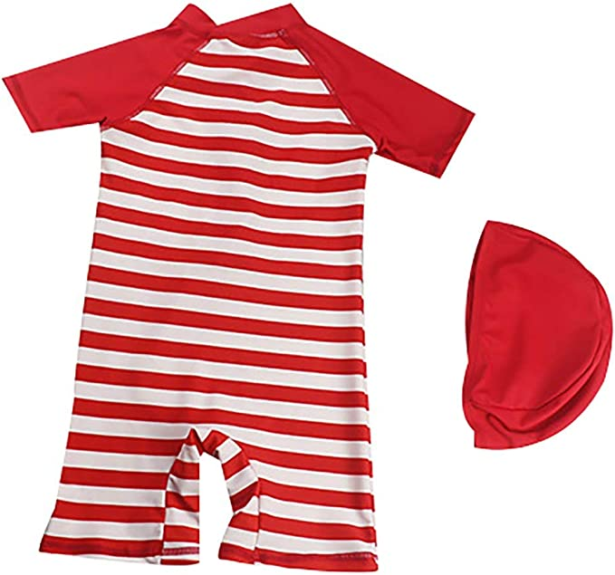 Baby Boys One Piece Swimsuit Swimwear Toddler Cute Cartoon Stripes Swimsuit with Swimming Cap UPF 50+