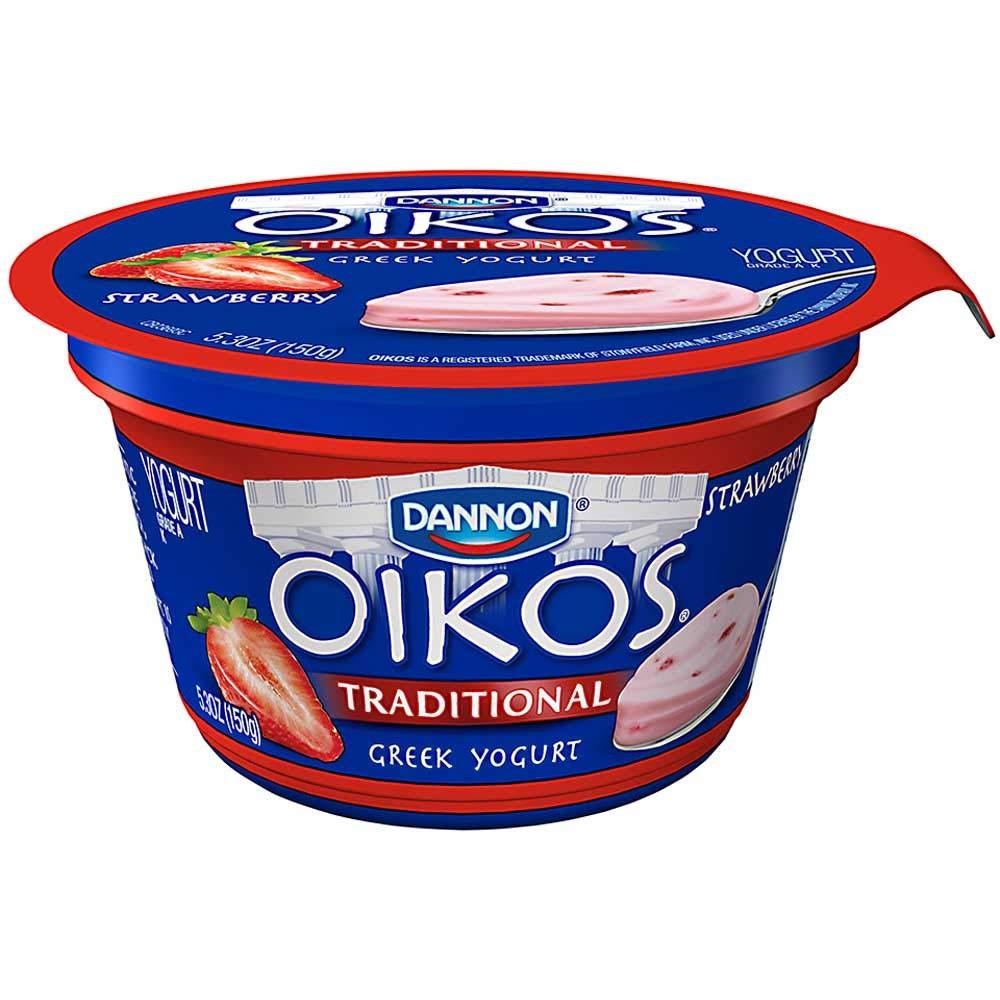 Oikos Strawberry Traditional Greek Yogurt, 5.3 Ounce -- 12 per case.