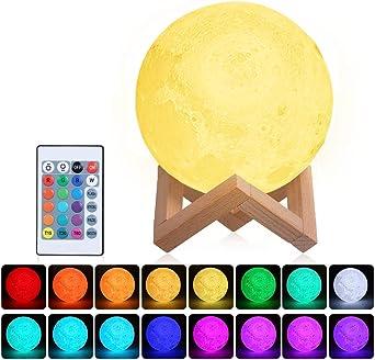 Oferta amazon: Lámpara Luna 3D,Tomshine 15cm Lámpara Mesilla de Noche,16 Colores y 4 Modos de Lluminación,Brillo Regulable Recargable USB,Control Remoto y Control táctil,regalo navidad para mujer