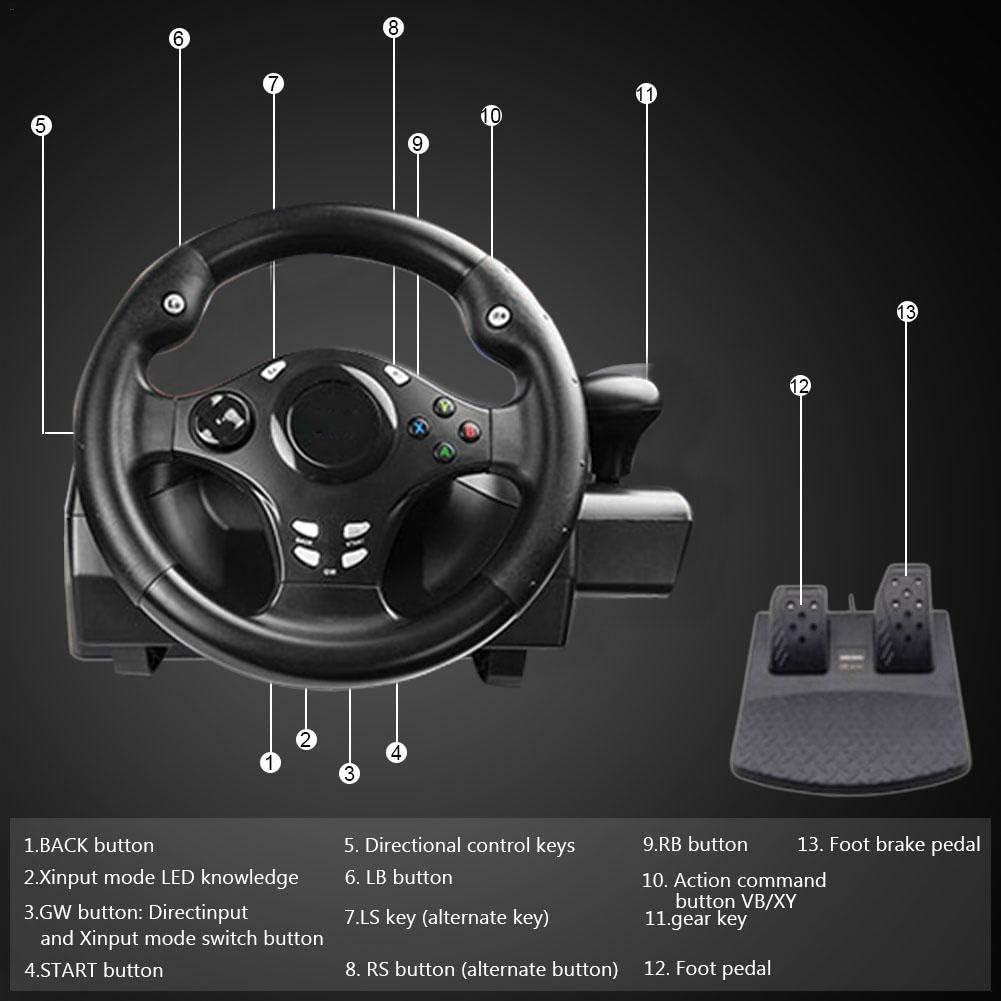 Volant de Jeu , 7 en 1,270 /° Volant de Course Racing avec Deux Moteurs Feedback DrivingPS4 PC//Xbox-One//XBOX-360 Switch//Android Game Wheel Racing Wheel Volant multiplateforme PS3