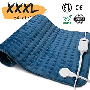 "Heating Pad Extra Large Electric Heating Pads for Back Pain Cramps Relief [34""x17""] with Auto Shut-Off, Fast Heating, 6 Heating Levels, Machine-Washable, Includes Elastic Band and Storage Bag"