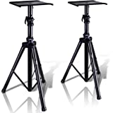 "Pyle Dual Studio Monitor 2 Speaker Stand Mount Kit - Heavy Duty Tripod Pair and Adjustable Height from 34.0"" to 53.0"" w/ Meta"