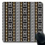 Ahawoso Mousepads for Computers Silver Baroque Striped Geometric Gold Versace Vintage Damask Greek Pattern Stripe Key Design Modern Oblong Shape 7.9 x 9.5 Inches Non-Slip Oblong Gaming Mouse Pad
