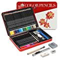 Colored Pencils Kasimir 48 Colored Pencils Set Non Toxic Lead Free with Pencil Extender Sharpener Knife Eraser for Artist Student Teacher Designer Children Drawing case