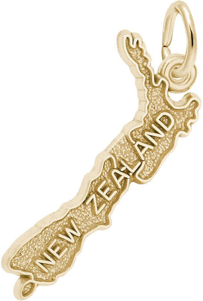 Rembrandt New Zealand Map Charm - Metal - 14K Yellow Gold