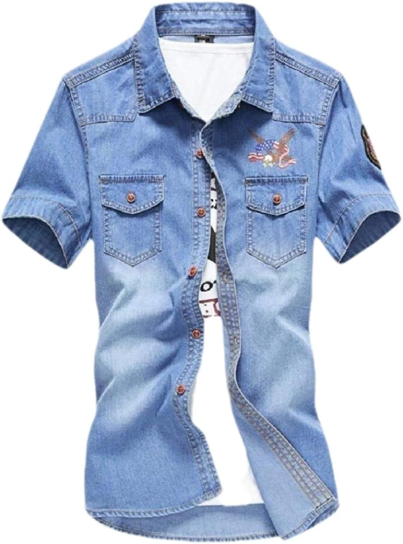 lovever Men Fashion Short Sleeve Embroidery Print Chambray Cotton Denim Work Shirts