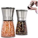 Juego de 2 Piezas Molinillo de Sal y Pimienta , Molino Manual de Sal y Moledor Pimienta y Especias con Precisión de Grosor Aj