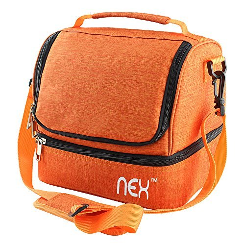 Nex Lunch Bag Double Cooler Carry Bag Insulated Tote Large Capacity with Adjustable Shoulder Strap and Zip Closure Travel Lunch Tote(Orange) ()