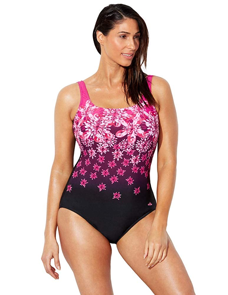 a4bb7642667 Swimsuits for All Women s Plus Size Chlorine Resistant Floral One Piece  Swimsuit at Amazon Women s Clothing store
