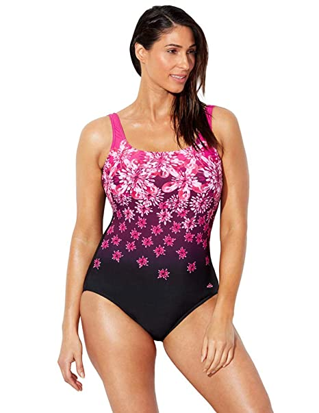 2e22b3d42873f Swimsuits for All Women's Plus Size Chlorine Resistant Floral One Piece  Swimsuit at Amazon Women's Clothing store: