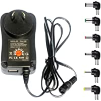 MeetUs 30W Universal 100v-220V Charger Adapter Switching Power Supply with 6 Selectable Adapter Tips & Micro USB Plug…