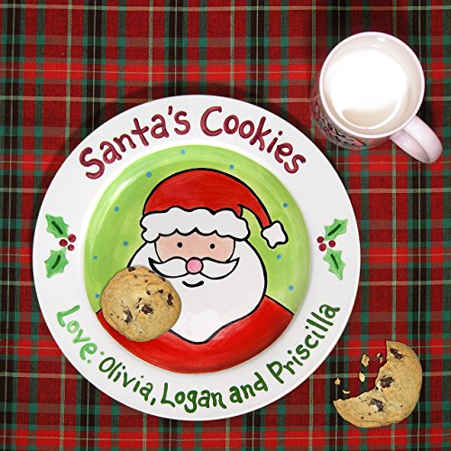 Cookies for Santa Plate and Mug, Hand painted ceramic plate, Little Worm and Company