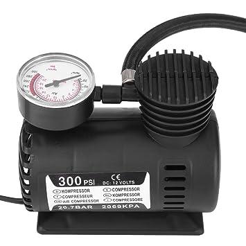 12V Mini compresor de aire Bomba eléctrica portátil del inflador del neumático de la emergencia para el neumático de la motocicleta de la bici de la bola: ...