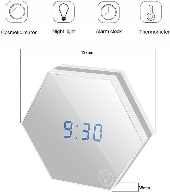 skitic espejo reloj despertador, multifunción Dimmable espejo Digital Alarm Clock Termómetro táctil LED luz nocturna Time alarma fecha temperatura pantalla via USB carga para las mujeres a la búsqueda de belleza/se lever