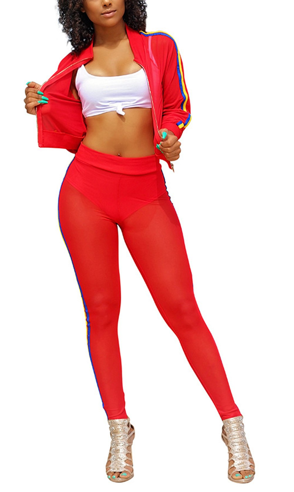 Bluewolfsea Women Mesh 2 Piece Bodycon Pants and Jackets Set Sexy Club Bodysuit Party Outfits X-Large 1-Red