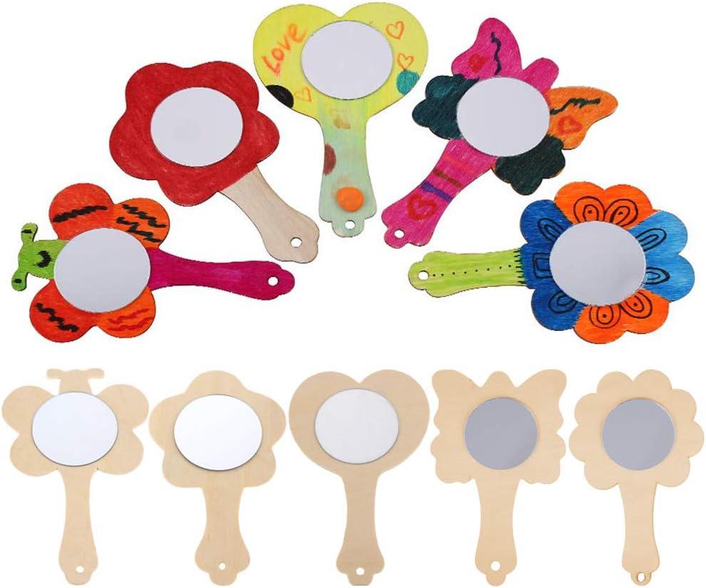 Vankcp 27pcs Creative DIY Wooden Mirror Mini Wooden Craft Painting Princess Mirror Toys for Kids DIY Handmade Craft