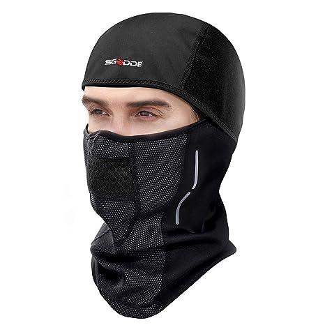 SGODDE Pasamontañas Moto Invierno, Balaclava Máscara, Mascarilla Térmica a Prueba de Viento Multifuncional para Proteger la Cara y el Cuello de ...