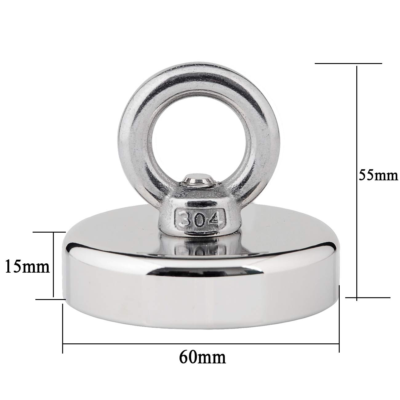 Diameter 60mm 160KG Pulling Force N40 Magnetic Grade Strong Powerful Fishing Magnet with Eyebolt for Magnet Fishing and Retrieving in River Thickness 15mm Uolor Upgraded Round Neodymium Magnet