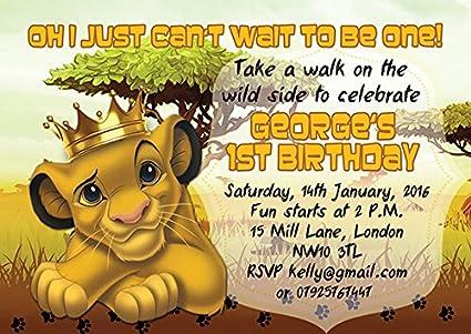 10 x el rey León personalizado Niños Fiesta de cumpleaños ...